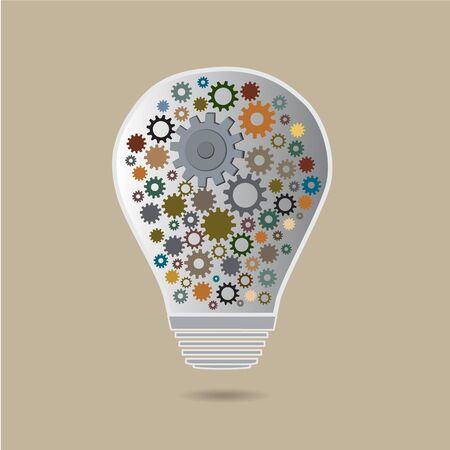 cog in the lamp vector icon, idea concept Illustration