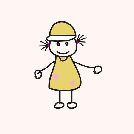 pigtail: children vector hand drawn