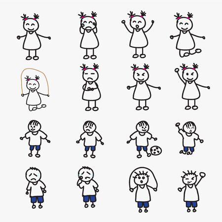 tonto: conjunto de avatares niño