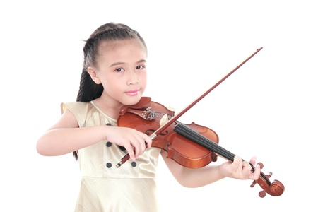 violin: beautiful girl playing violin isolated on white background