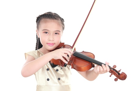 beautiful girl playing violin isolated on white background photo