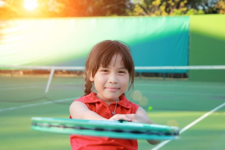 Portrait of sporty beautiful asian girl tennis player Stock Photo - 21613689
