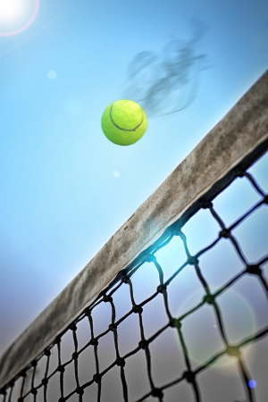tennis net: Tennis attack Stock Photo