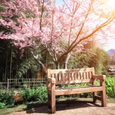 Tranquil garden bench under cherry blossom tree oil paint photo