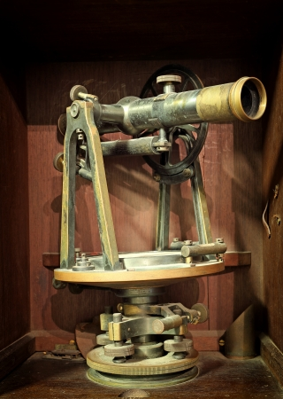 land surveying: antique measuring instrument of surveying and alignment