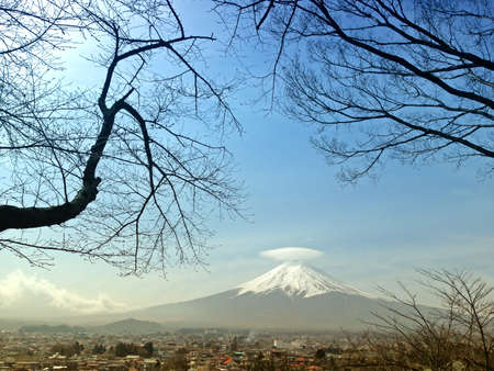 Mt  Fuji with cap cloud photo