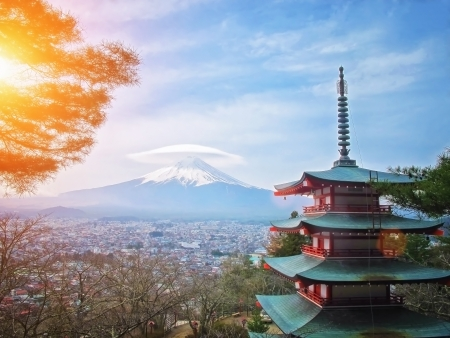 Mt  Fuji viewed from behind Chureito Pagoda with cap cloud