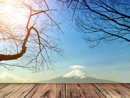wood floor on Mt  Fuji with cap cloud photo