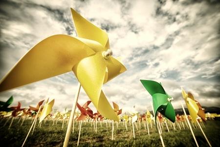 wind turbine: Origami Wind Turbine farm vintage Stock Photo