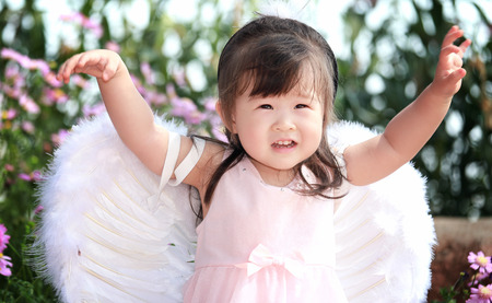 baby angel: Piccola fata in campo di fiori