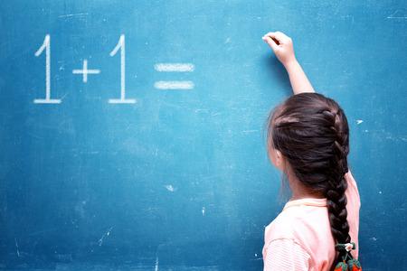 girl drawing on chalkboard photo