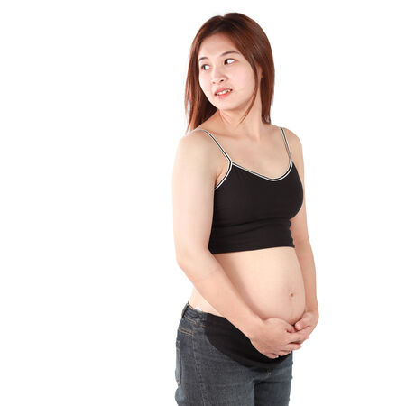 asian pregnant women isolated white background photo