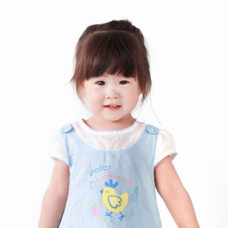 Asian little girl on a white background photo