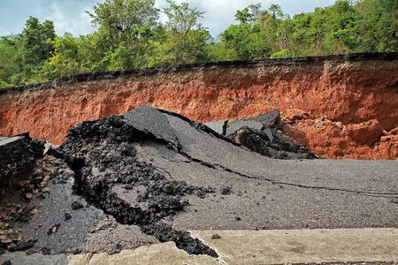 earthquakes: Crack of asphalt road after earthquake Stock Photo