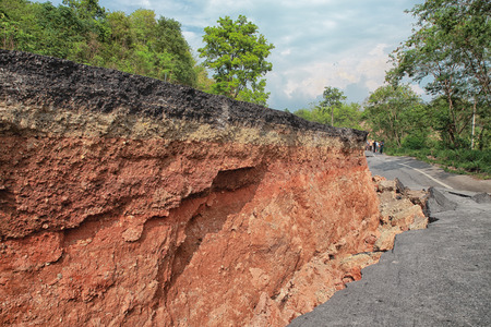 earthquake crack: Crack of asphalt road after earthquake Stock Photo