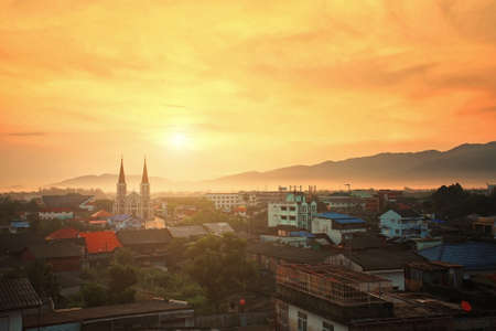 Roman Catholic Church at sunset, Chanthaburi Province, Thailand photo