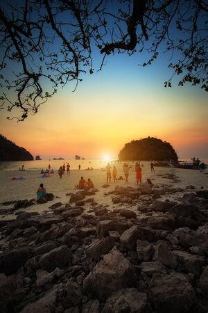 Sunset beach at krabi Thailand photo