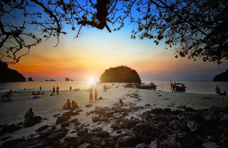 Sunset beach at krabi Thailand photo