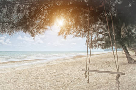 Swings on the tropical beach. photo