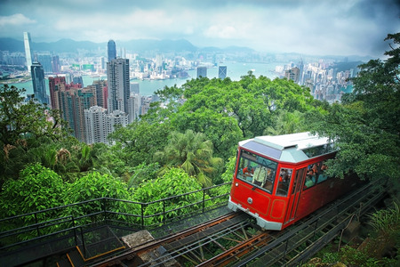 Tourist tram at the Peak, Hong Kong photo