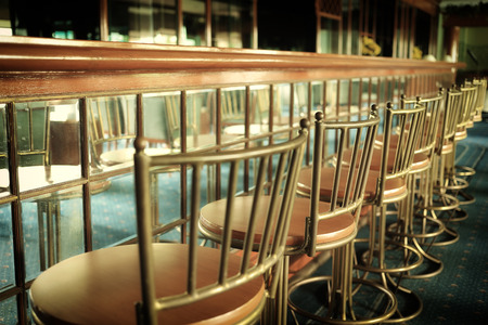 Vintage Counter and barstools  Stock Photo