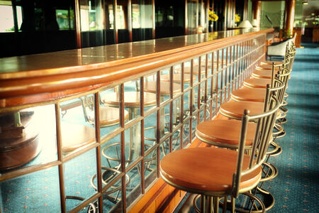 barstools: Vintage Counter and barstools  Stock Photo