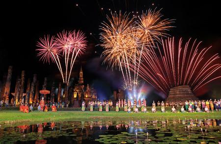 Fireworks Loykrathong Festival in Sukhothai Historical Park, Thailand