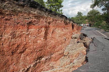 Crack of asphalt road after earthquake