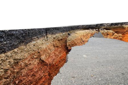Crack of asphalt road after earthquake photo