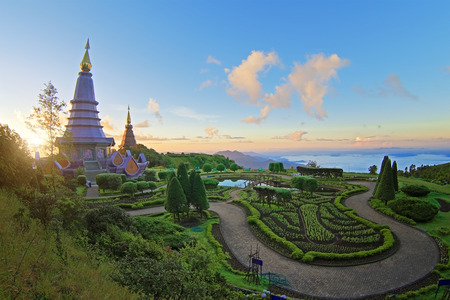 phon: Landscape of pagoda (noppha methanidon-noppha phon phum siri stupa) at Inthanon mountain, chiang mai Thailand.