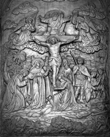 carve: Christ silver carve art Stock Photo