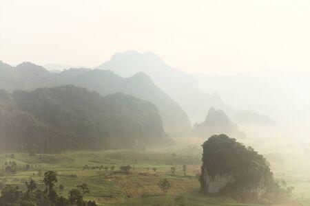 ka: Morning mist at Phu Lang Ka, Phayao Thailand