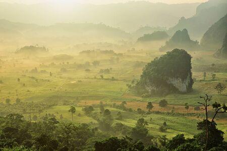 lang: Morning mist at Phu Lang Ka, Phayao Thailand