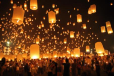 yeepeng: Floating lantern, YeePeng,Firework Festival in Chiangmai Thailand, Blur background Stock Photo