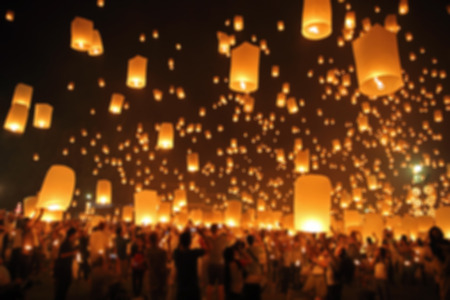 yeepeng: Floating lantern, YeePeng,Firework Festival in Chiangmai Thailand blur background