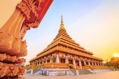 phuket province: Phra Mahathat Kaen Nakhon at sunset, Khon Kaen Thailand Stock Photo