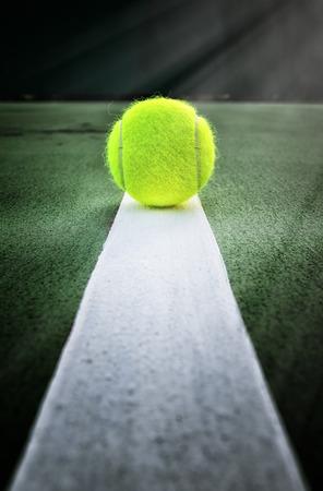 tennis: Tennis ball on tennis court Stock Photo