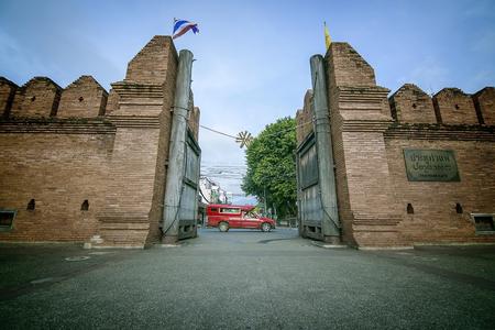 tha: Tha phae gate with Red car Chiang mai Stock Photo