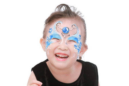 painted face: Asian little girl with painted face Stock Photo