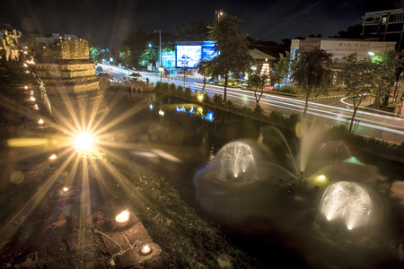 moat: Moat in Chiang mai thailand at night Stock Photo