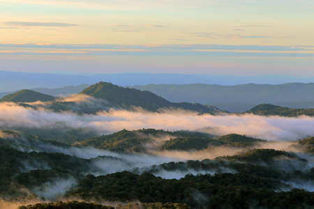 moutains: Morning mist and moutain in Chiang mai, Thailand Stock Photo