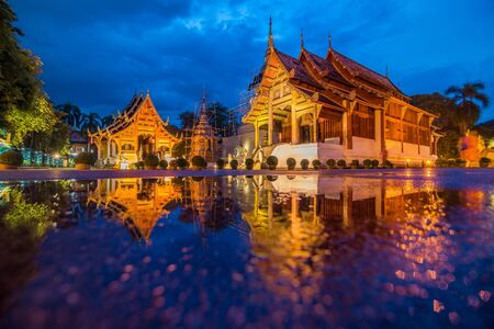mai: Wat phra singh temple twilight time in Chiang mai Thailand