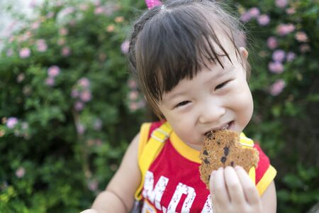 Close up asian little girl eating a cookie