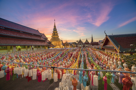 buddhist temple roof: Wat Phra That Hariphunchai, Lamphun Thailand