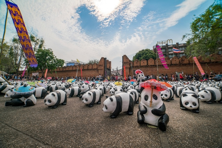 wwf: CHIANG MAI, Thailand - March 4, 2016 : 1600 paper marche pandas world tour in thailand by WWF at Tha Pae Gate. Cloud heart form in background.