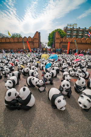 CHIANG MAI, Thailand - March 4, 2016 : 1600 paper marche pandas world tour in thailand by WWF at Tha Pae Gate. Editorial