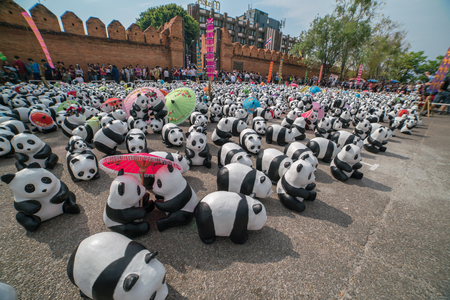 wwf: CHIANG MAI, Thailand - March 4, 2016 : 1600 paper marche pandas world tour in thailand by WWF at Tha Pae Gate. Editorial