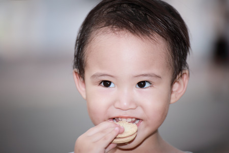 3 year old: adorable 3 year old boy with smile face eating cookies
