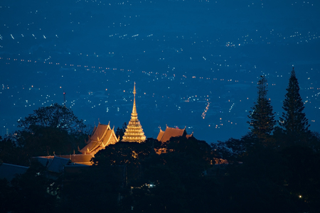 aerial view: Wat phra that doi suthep famous temple in chiang mai thailand Stock Photo