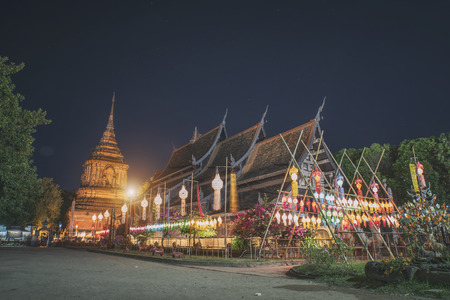 Wat lok molee at night in Chiang mai Thailand retro style Stock Photo